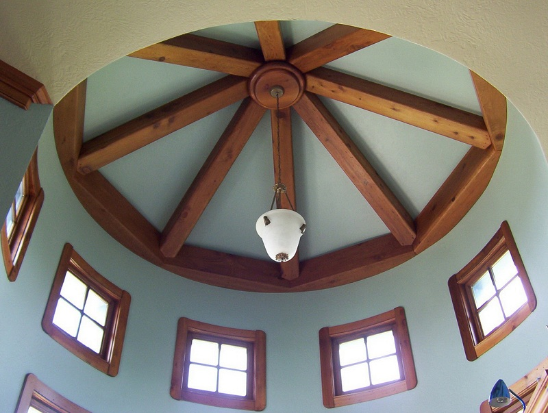 Ceiling With Decorative Beams In The Interior